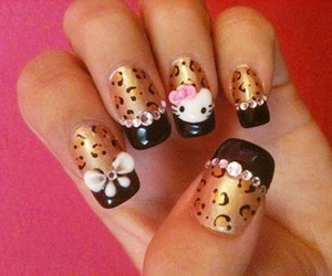 nails, hello kitty, and nail art image