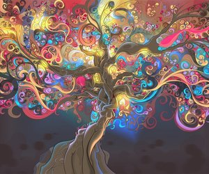 tree, colors, and psychedelic image