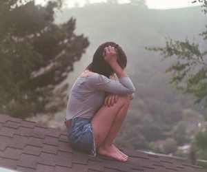 girl, roof, and alone image