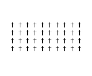 white, black, and cross image