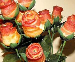 bacon, food, and rose image