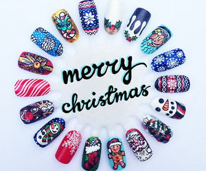 nails, merry christmas, and nail art image