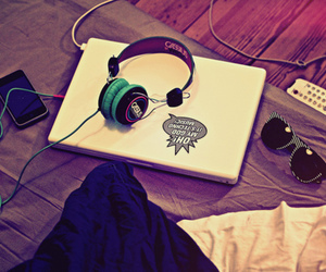 music, laptop, and headphones image
