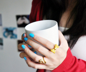 girl, blue, and cup image