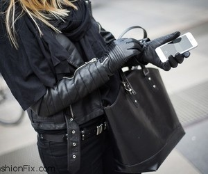 fashion, leather, and blonde image