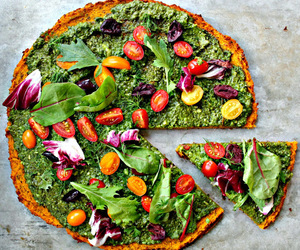 green, healthy, and pizza image