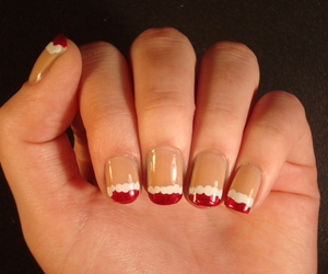 christmas, nail art, and red and white image