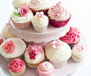cream, flowers, and cupcakes image