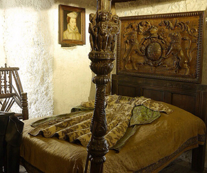 bedroom, medieval, and castle interior image
