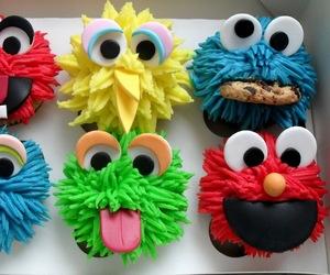 cupcake, food, and elmo image