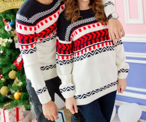 christmas, couples, and sweater image