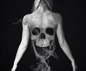 skull, black and white, and smoke image