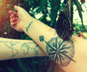 tattoo, butterfly, and world image