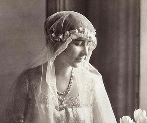black and white, bride, and pearls image