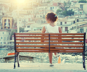 girl, bench, and city image