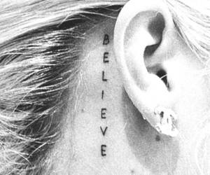 tattoo, believe, and ear image