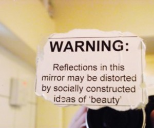 beauty, mirror, and warning image