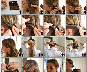 brunette, bun, and twisted image