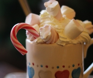 food, marshmallow, and hot chocolate image