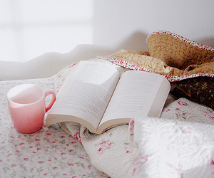 bed, book, and cup image