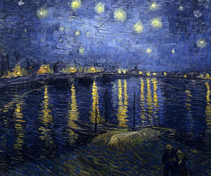 night, starry, and van gogh image