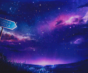 stars, sky, and anime image