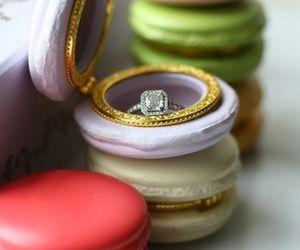 macaroons, ring, and wedding image