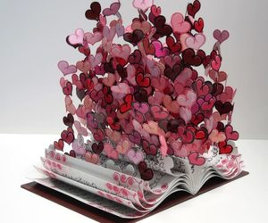 love, book, and hearts image