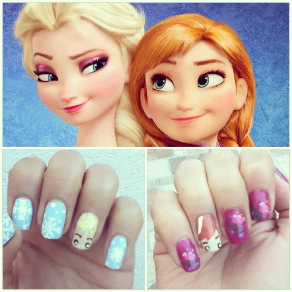 Frozen inspired nail art; Queen Elsa and Princess Anna.