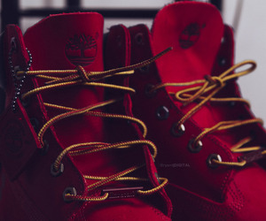 red, timberland, and shoes image