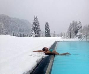 beautiful, pool, and snow image