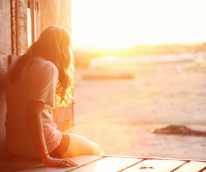 girl, alone, and sun image