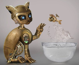 steampunk, cat, and fish image
