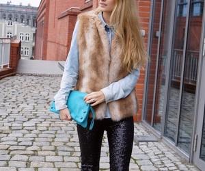 fashion, leggins, and fur vest image