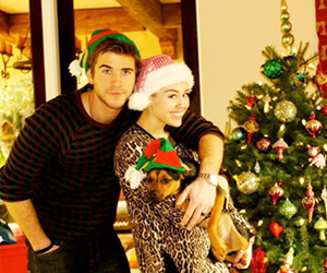 miley cyrus, christmas, and liam hemsworth image
