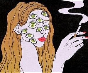 eyes, smoking, and art image