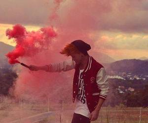 boy, red, and smoke image