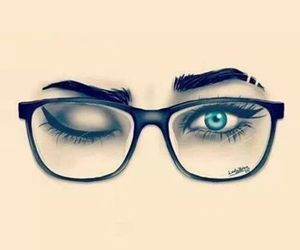 eyes, glasses, and drawing image