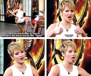 Jennifer Lawrence, mirror, and funny image