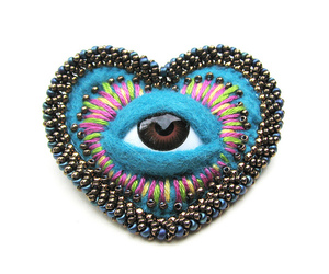 brooch, eyeball, and creepy image