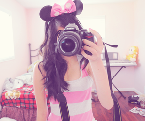 girl, camera, and pink image