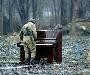 piano, soldier, and music image