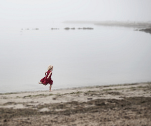 cloudy day, sea, and girl image