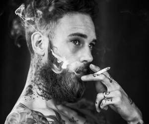 tattoo, smoke, and beard image