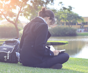 book, girl, and backpack image