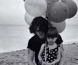 johnny depp, balloons, and black and white image