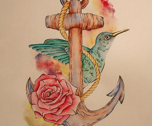 anchor, rose, and bird image