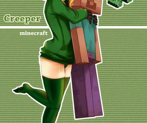 green, minecraft, and monster image