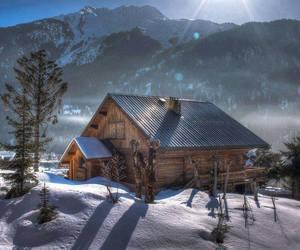 log cabin at sunrise image