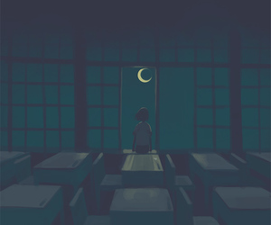 moon, alone, and anime image